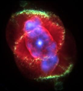 La Nebulosa Ojo de Gato. Imagen en falso color (visible y rayos X) tomada por el Telescopio espacial Hubble.
