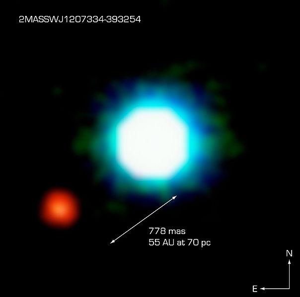 Primera imagen directa confirmada de un planeta extrasolar. La toma, reproducida aquí en falso color, fue captada en el infrarrojo por el Very Large Telescope. El cuerpo central (azul) es la enana marrón 2M1207. Tiene un compañero de masa planetaria (rojo), 2M1207b.